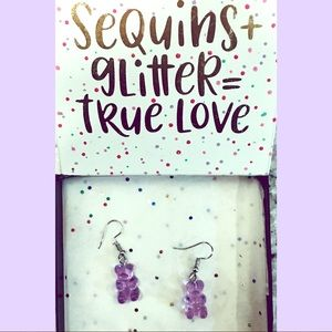 Purple gummy bear earrings!! 💜